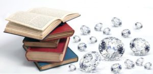 book and diamond